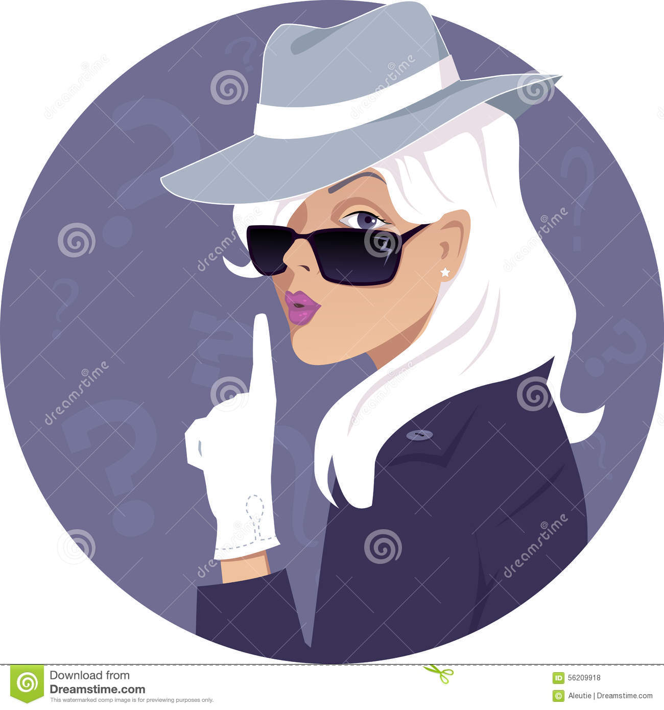 Female Secret Agent In A Hat And Sunglasses Vector Illustration No