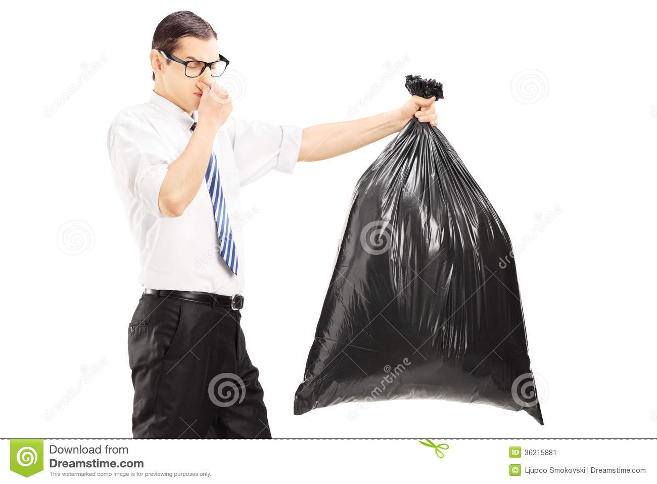 Male Closing His Nose And Carrying A Stinky Garbage Bag Stock Image