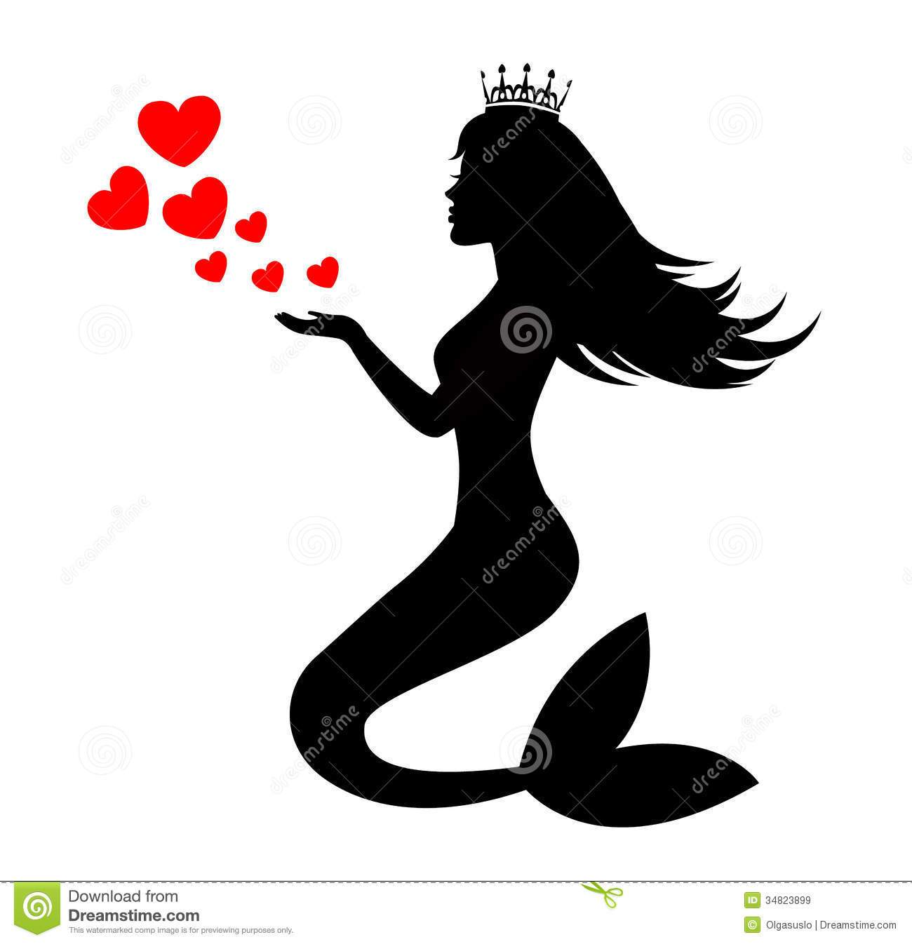 Mermaid Silhouette Of A Crown With Hearts On White Background Clipart