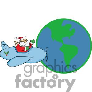 Santa Flying Around The World Delivering Present To All The Little