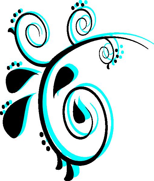 Purple Butterfly Scroll Clip Art At Clker Com: Teal Scroll Clipart
