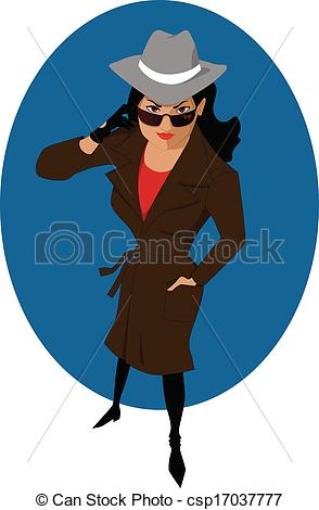 Vectors Illustration Of Female Secret Agent Or Private Dete   Young