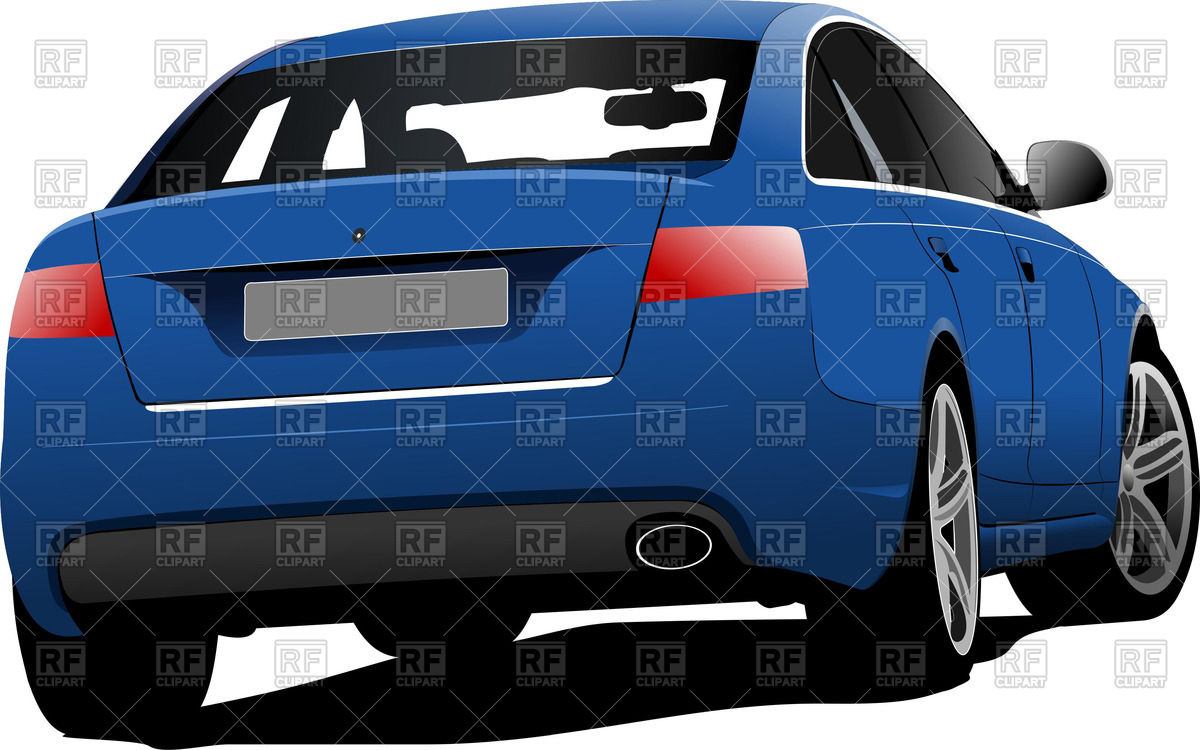 Blue Car   Rear Side Sedan View 51221 Download Royalty Free Vector