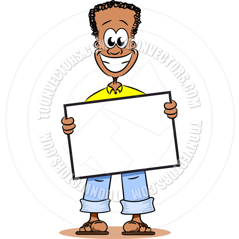 Cartoon African American Youth With Notice Board By Mistac   Toon