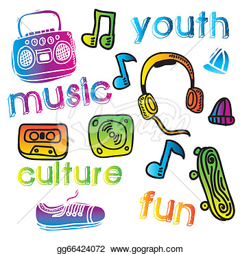 Drawing   Youth Culture Design Over White Background Vector