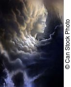 Meditative Face And Stormy Clouds   Surreal Canvas Painting