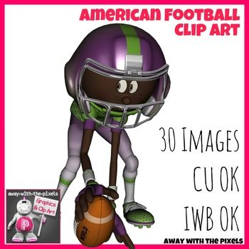 American Football Sport Action Clip Art Set   32 Clipart Images