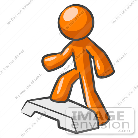 Clip Art Graphic Of An Orange Guy Character Stepping Up Onto A Fitness