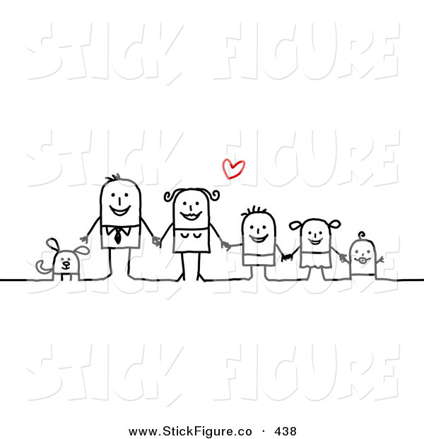 Clip Art Of A Stick Figure People Character Family Holding Hands