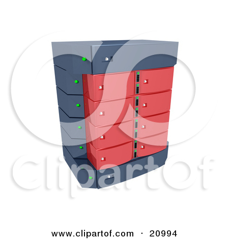 Clipart Illustration Of A Red Double Server Rack By 3pod  20994
