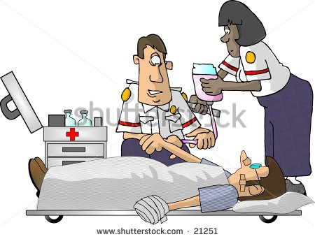 Clipart Illustration Of Two Emt Paramedics And A Patient    Stock