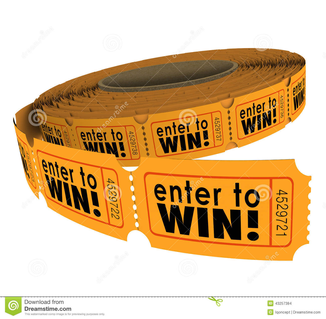 Enter To Win Words On A Roll Of Orange Raffle Or Lotter Tickets As A