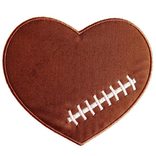 Football Heart Applique  Football Heart Baby Shirts Football Shirts