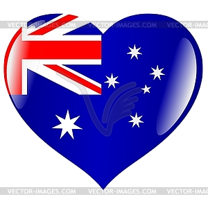 Heart With Flag Of Australia   Vector Clipart