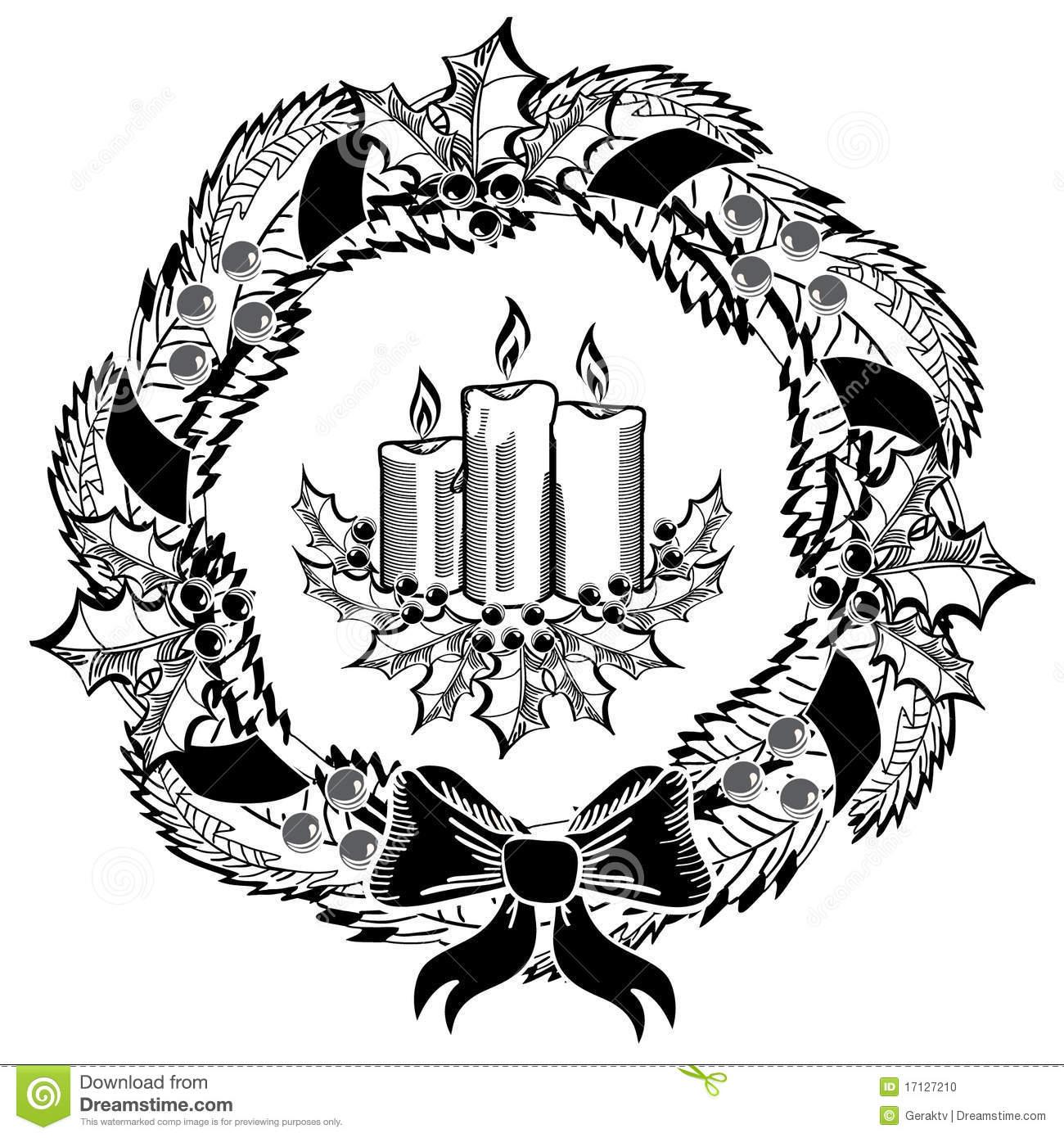 Clip Art Black and White Wreath – Cliparts