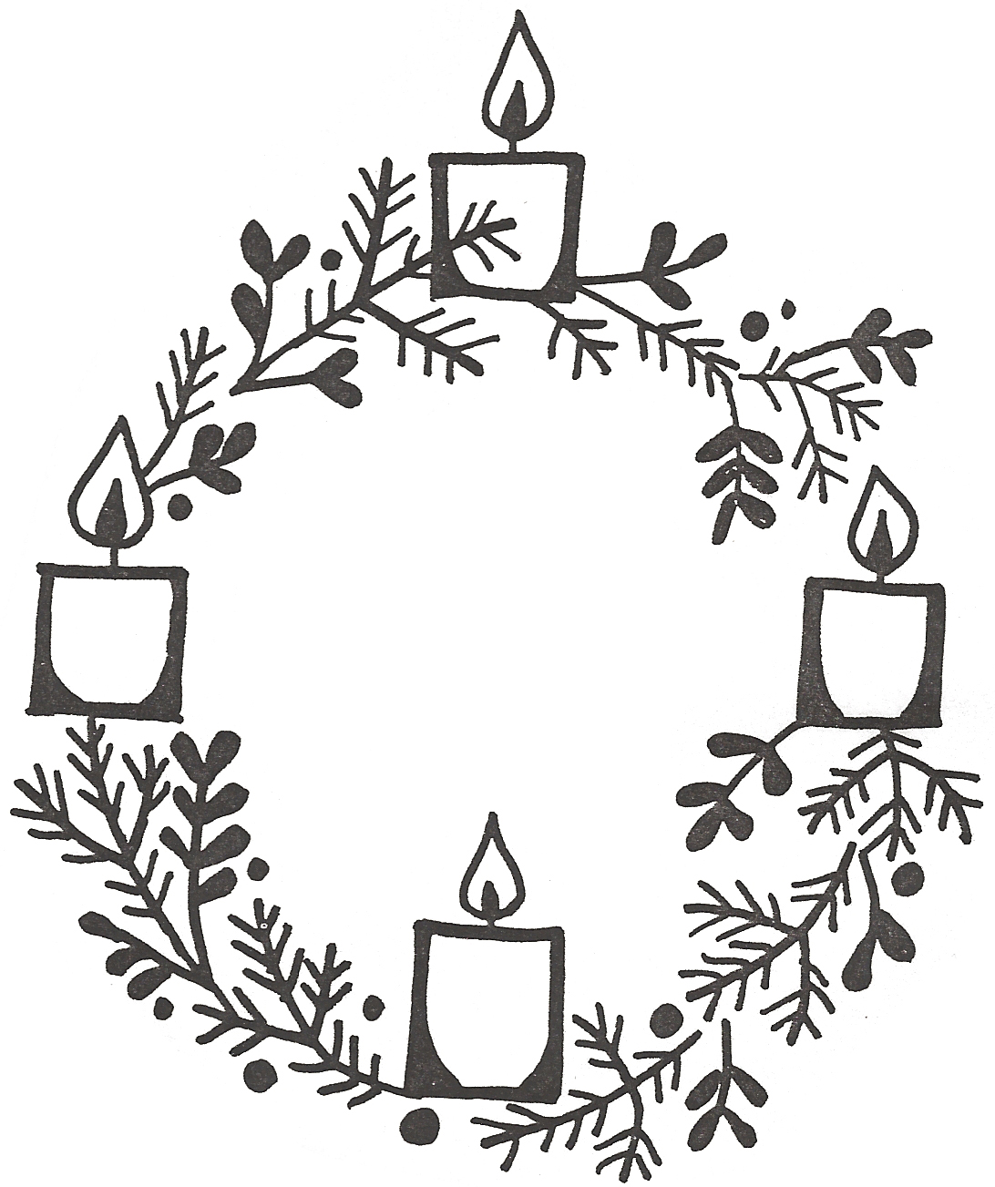 Advent Wreath Black And White Clipart - Clipart Kid