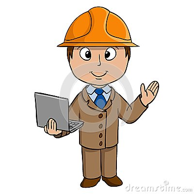 Cartoon Engineer In Helmet With Notebook  Vector Illustration