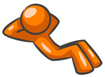 Clip Art Graphic Of An Orange Guy Character With His Hands Behind His