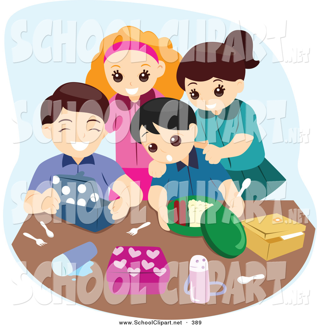 Clip Art Of A Group Of Four Happy Kids Unpacking Their Lunch Boxes By