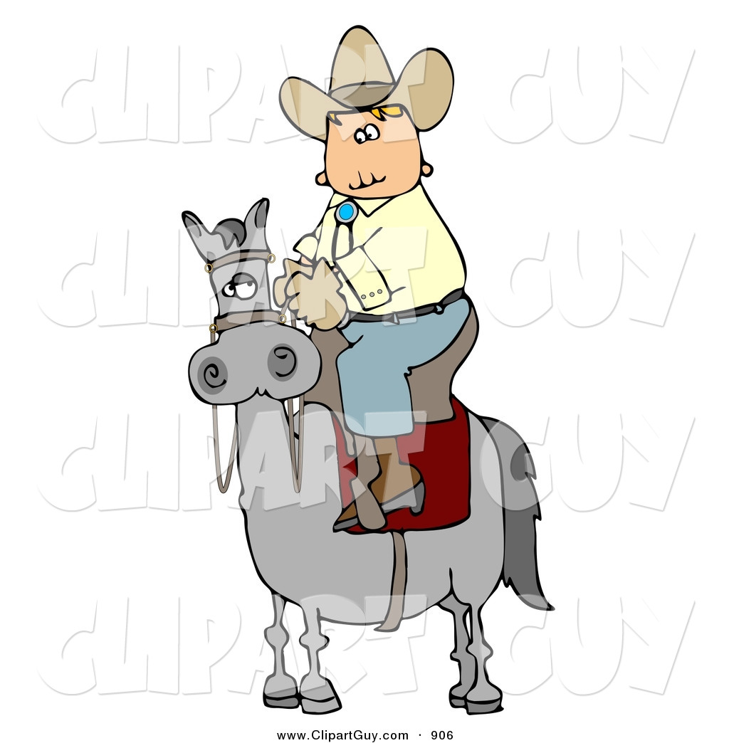 Cowboy Riding High On A Gray Horse To The Left Silly White Cowboy