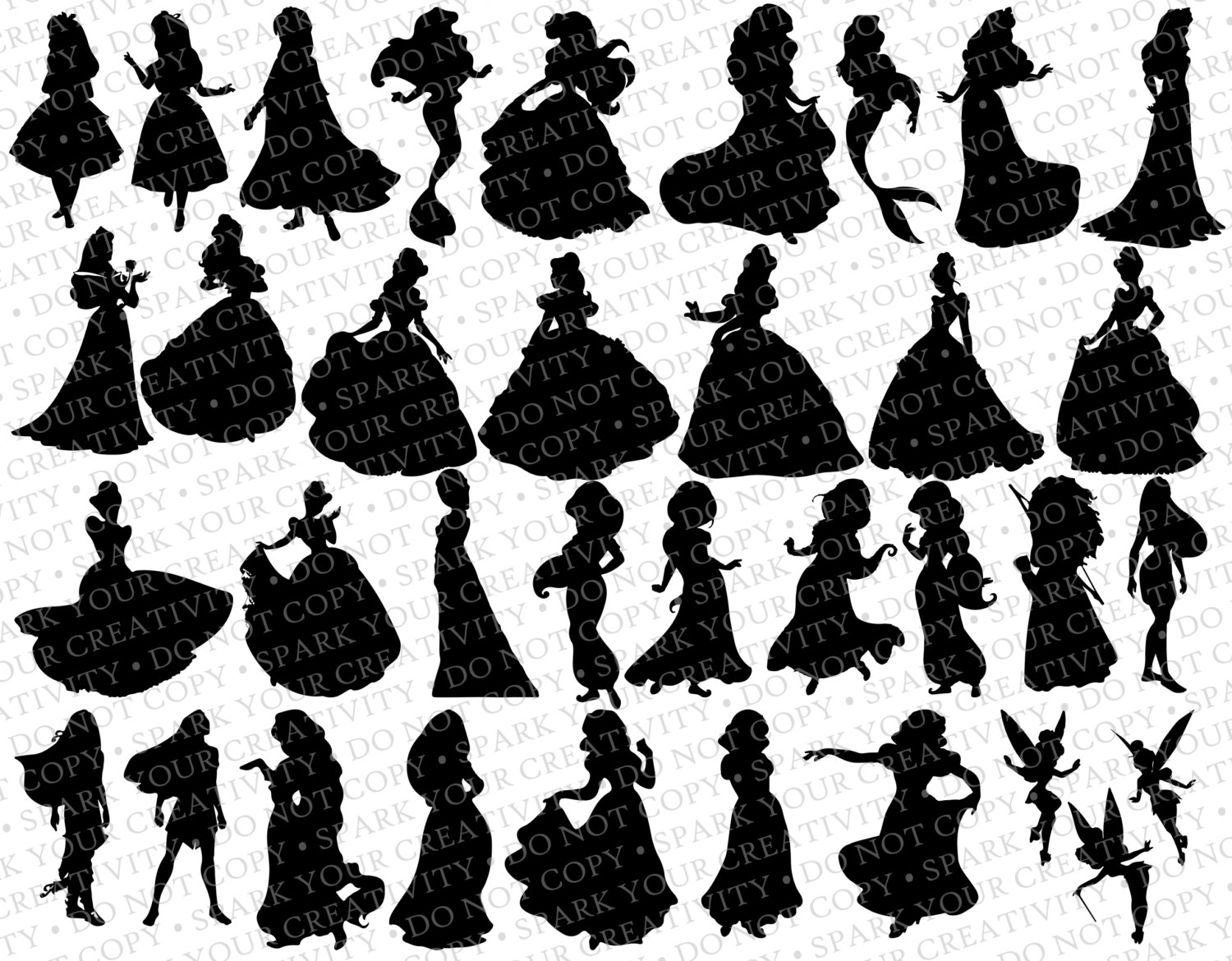 Disney Princess Silhouettes    35 By Sparkyourcreativity On Etsy