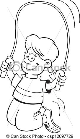 Jump Rope Clipart Black And White Cartoon Girl Jumping Rope