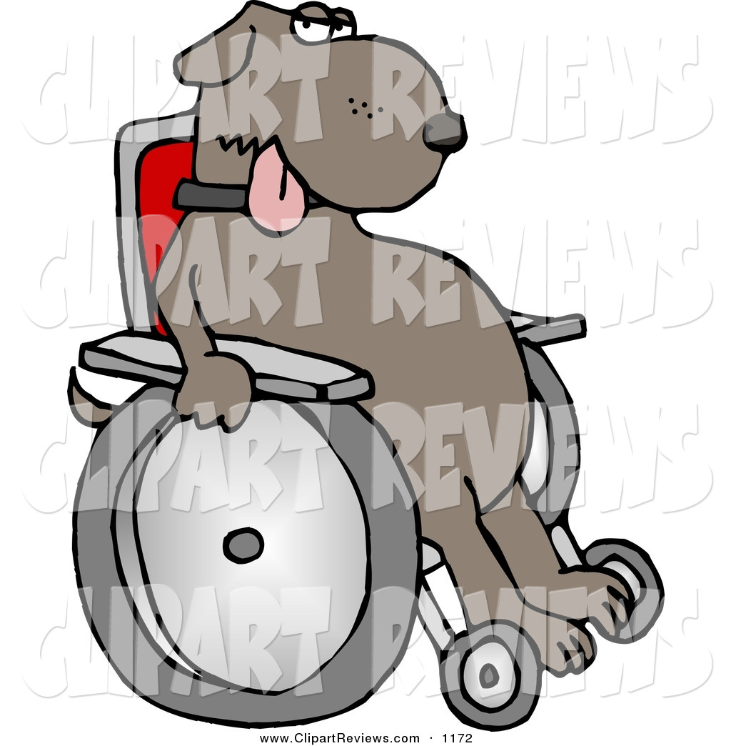Larger Preview  Clip Art Of A Injured Dog Sitting In A Wheelchair And