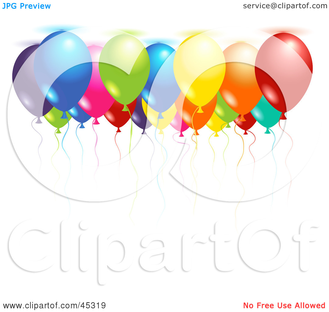 Royalty Free  Rf  Clipart Illustration Of Colorful Helium Filled