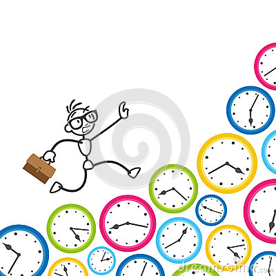 Stickman Stick Figure Time Management Clock Deadline Stock Vector