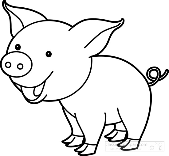 Clip Art Pig Clipart Black And White cute pig black and white clipart kid animals outline classroom clipart