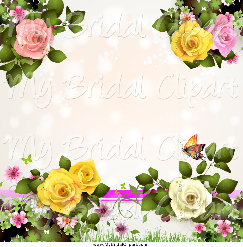 Bridal Clipart Of A Pink Wedding Background With Lights Butterflies
