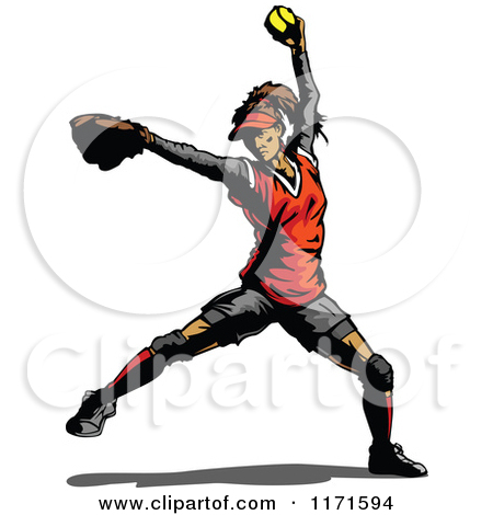 Clipart Of A Softball Pitcher   Royalty Free Vector Illustration By