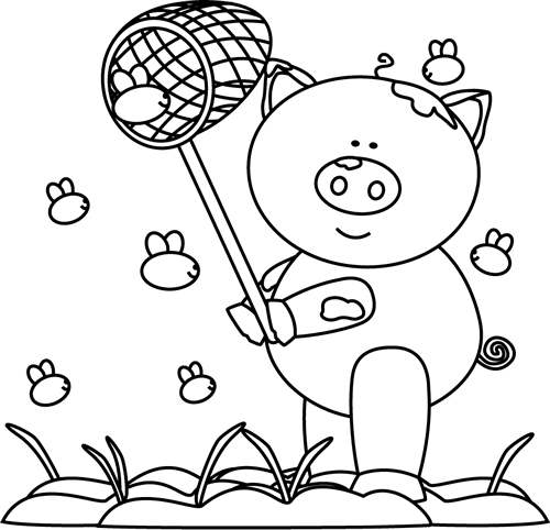 Cute Pig Black And White Clipart - Clipart Suggest
