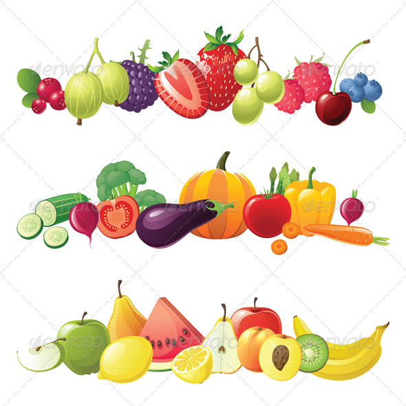 Fruits Vegetables And Berries Vector Borders For Your Designs  Eps 8