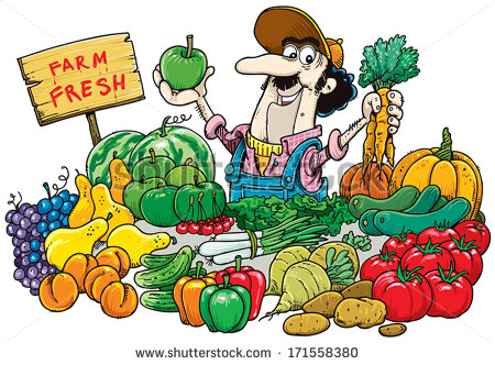 Man Selling Fruit And Vegetables At The Market    Stock Vector