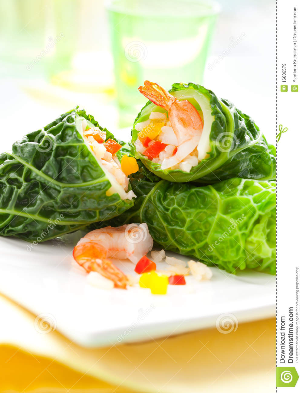 Savoy Cabbage Leaves Stuffed With Prawnsrice And Vegetables