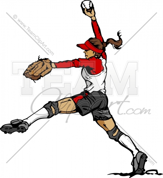 Softball Pitcher Clipart Graphic In An Easy To Edit Vector Format