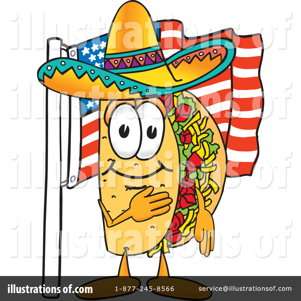 Taco Clipart Black And White Royalty Free Rf Taco Clipart