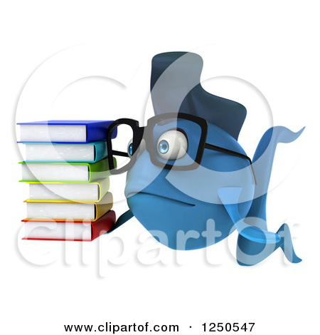 1250547 Clipart Of A 3d Sad Bespectacled Blue Fish Holding A Stack Of