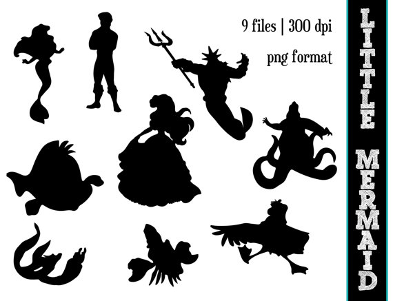 Ariel Silhouette    Disney Clipart    Little Mermaid Silhouettes