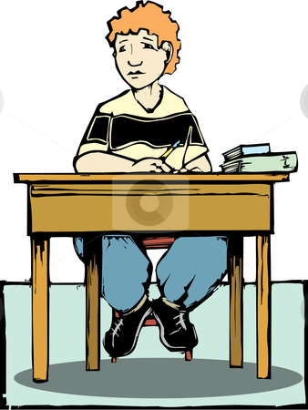 Boy Sitting At Desk Stock Vector Clipart Boy Sitting At A Desk