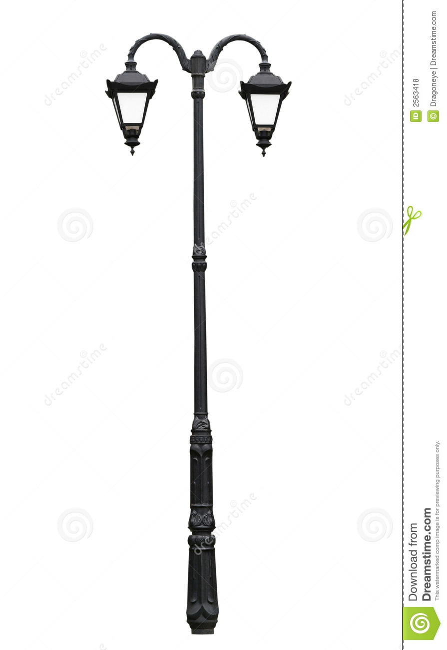 Cast Iron Street Lamp Isolated On White With Clipping Path For More On