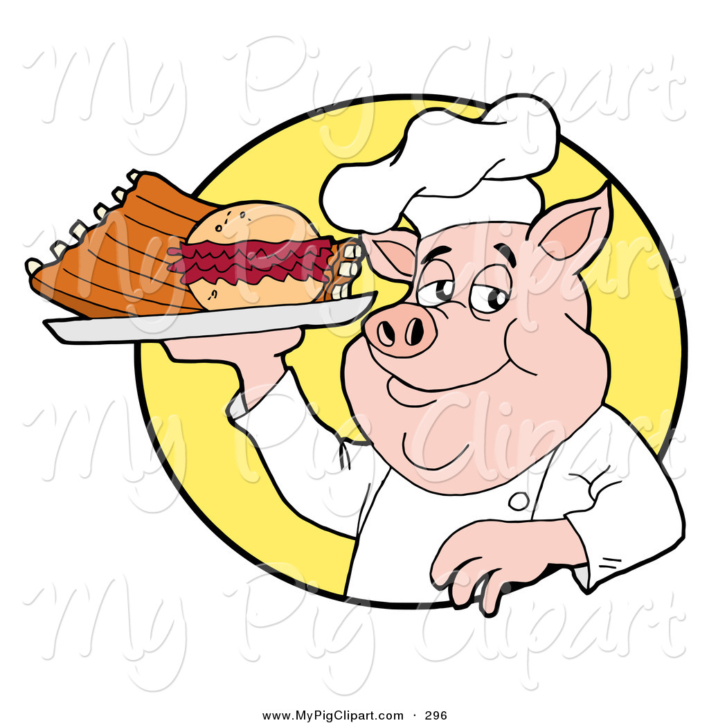 Chef Pig Holding A Pulled Pork Burger And Ribs On A Plate Pink Chef
