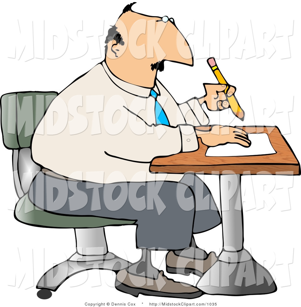 Clip Art Of A Thinking Businessman Sitting At A Desk And Writing On