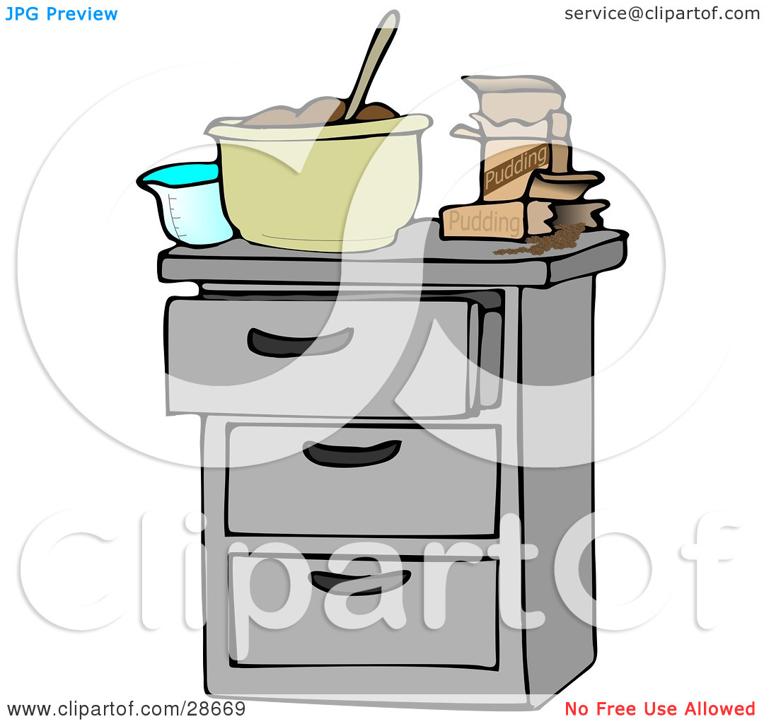 Clipart Illustration Of A Measuring Cup And Pudding Boxes By A Mixing