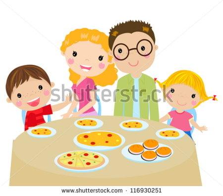 Family Dinner   Stock Vector
