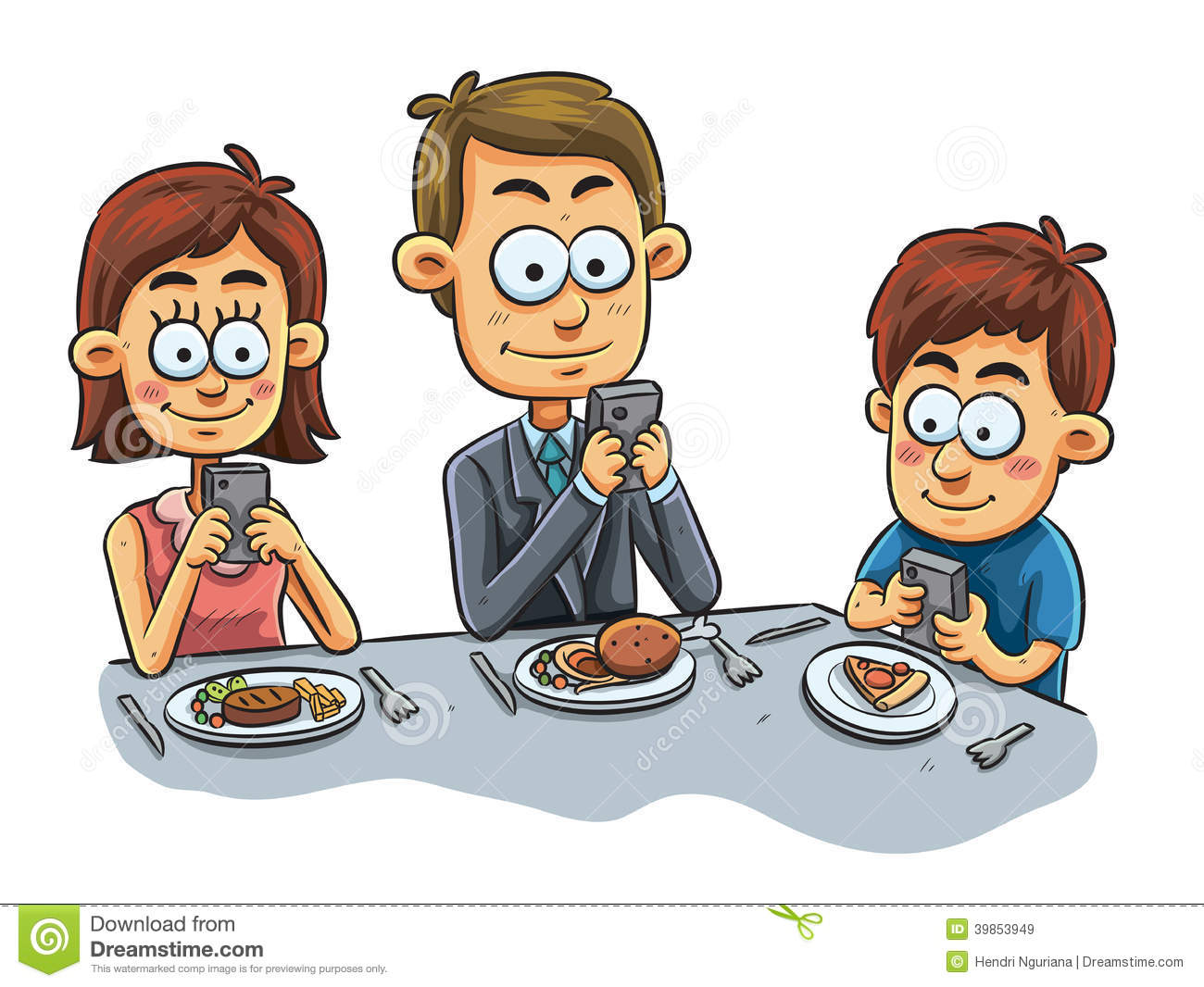 Cartoon family eating dinner