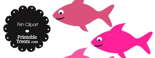 Fish Clipart In Shades Of Pink   Printable Treats Com