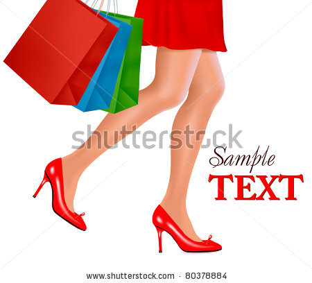 Of Shopping Woman Carrying Shopping Bags   Vector Clipart Illustration