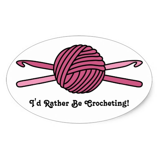Crocheting Cartoons : Pink Ball Of Yarn Crochet Hooks Oval Sticker Zazzle